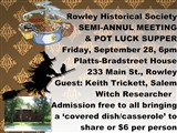 Rowley Historical Society  Pot Luck Supper