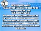 MANDITORY WATER BAN