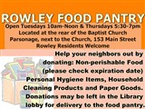 Food Pantry Open Tuesdays 10am-Noon & Thursdays 5:30-7pm